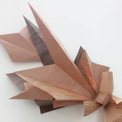Mise au pli - Sculpture lumineuse feuille de bois nouée Invenio Flory