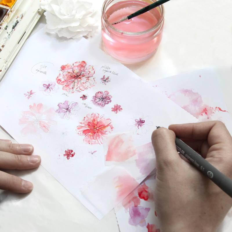 Peinture et Dessin - Croquis floral - Invenio Flory