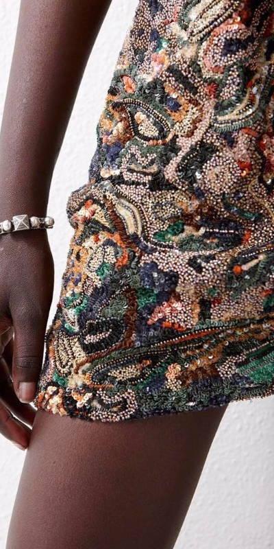 Tissu ancien - Motif trompe l'oeil créé par Invenio Flory pour Saint Laurent