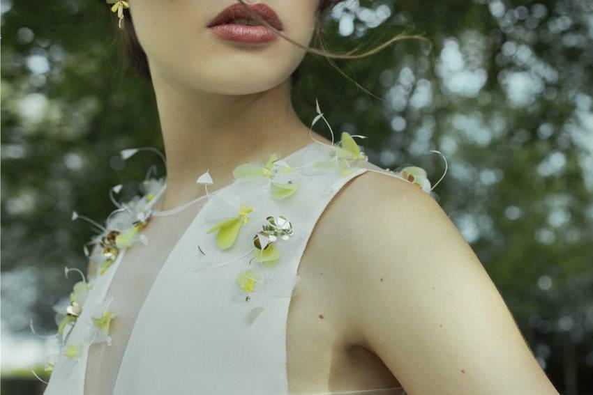 Vibration - Broderie robe de mariée contemporaine créée par Invenio Flory pour Adélie Métayer