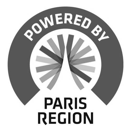 Logo Powered by Paris Region - Invenio Flory n&b